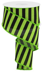 "2.5"" Medium Horizontal Stripe Ribbon: Lime Green/Black"