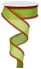 "1.5"" Rough Stitch Edge Ribbon: Lime/Red - 10Yd"