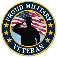 "12"" Metal Proud Military Veteran Sign"