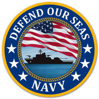 "12"" Defend Our Seas US Navy Metal Sign"
