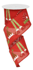 "2.5"" Red Elf Hat and Legs Ribbon - 10 yards"