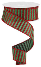 "1.5"" Glitter Stripe Ribbon: Red/Emerald Green - 10Yds"