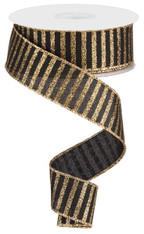 "1.5"" Glitter Stripe Ribbon: Black/Gold - 10Yds"