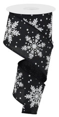 "2.5"" Linen Glitter Snowflake Ribbon: Black/White - 10 yards"