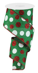 "2.5"" Three Glitter Dot Ribbon: Emerald Grn/Red/Wht - 10Yds"