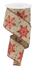 "2.5"" Glitter Snowflake Ribbon: Beige/Red - 10 yards"