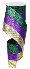 "Metallic Mardi Gras Tri-Stripe Wired Ribbon - 4"" x 10yd"