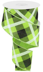 "2.5"" Diagonal Plaid Ribbon: Lime/Black/Wht - 10yds"
