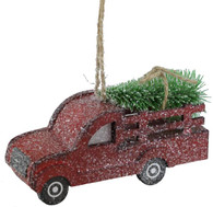 "6"" Paper Truck w/ Tree Christmas Ornament"