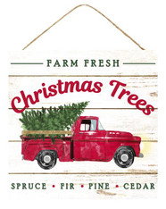 "10"" Farm Fresh Christmas Trees Truck Sign"