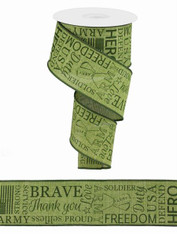 "2.5"" Linen Army Ribbon: Green - 10yds"