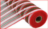 "21"" Metallic Snowdrift Mesh: Red/Wht/Emerald Stripe (10 Yards)"