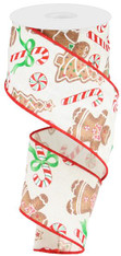 "2.5"" Ivory Linen Gingerbread/Candy Ribbon - 10 Yds"
