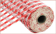 """10"""" Poly Burlap Weaved Mesh: Red/White"""