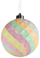 100mm Indented Diamond Ball Ornament: Cotton Candy
