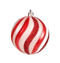 100mm Swirl Ball Ornament: Red/Wht