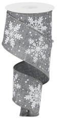 "2.5"" Linen Glitter Snowflake Ribbon: Grey/White - 10 yards"