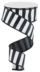 "1.5"" x 10yd Medium Horizontal Stripe Ribbon: Black/White"