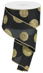 "2.5"" x 10yd Linen Giant Dot Ribbon: Black/Glitter Gold"
