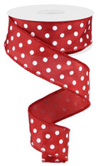 "1.5"" Small Polka Dot Ribbon: Crimson/White - 10yds"