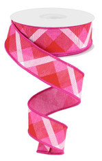 "1.5"" Diagonal Plaid Ribbon: Fuchsia/Red/White - 10yds"