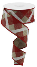 "1.5"" Diagonal Plaid Ribbon: Beige/Red/White- 10yds"