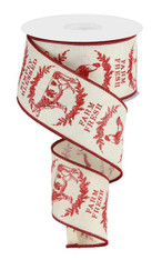 "2.5"" Farmhouse Animals Ribbon: Cream/Red - 10yds"