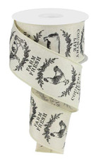 "2.5"" Farmhouse Animals Ribbon: Cream/Black - 10yds"