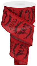 "2.5"" Farmhouse Animals Ribbon: Crimson/Black - 10yds"