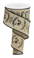 "2.5"" Farmhouse Animals Ribbon: Lt Beige/Black - 10yds"