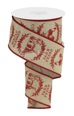 "2.5"" Farmhouse Animals Ribbon: Lt Beige/Red - 10yds"