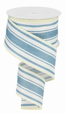 "2.5"" Farmhouse Stripe Ribbon: Ivory/Farmhouse Blue - 10yds"