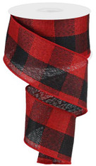 "2.5"" Large Woven Check Ribbon: Red/Black - 10Yds"