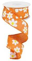 "1.5"" Daisy Print Ribbon: Orange - 10Yds"