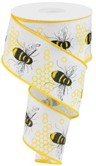 "2.5"" Honey Bee Ribbon: White"