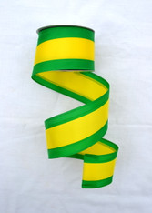 "Green and Yellow Tri-Stripe Ribbon - Satin Wired - 2.5"" X 10Yds"