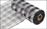 "White and Black Plaid with Red Foil - 10"" x 10Yd (RE1310FE)"