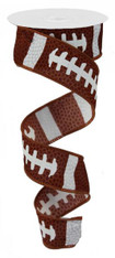 "Football Lace Ribbon - Brown and White - 1.5"" X 10Yd (RG1092)"