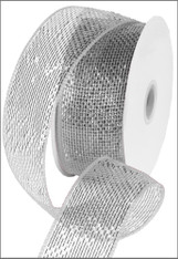 "Metallic Silver With Silver Foil Deco Mesh Ribbon - 2.5"" X 25Yds"