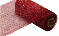 "10"" Deco Poly Mesh: Metallic Burgundy w/ Red Foil"