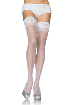 Stay Up Lace Top Sheer Thigh High