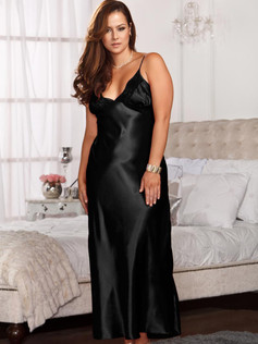 Trimmed Satin Gown