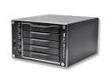 "VENUS T5 mini (DS-2250J), 5-Bay SATA RAID Storage, EZ-RAID setup DIP switch (No drivers or BIOS for RAID operation), Support Hot Swap and Hot Spare on RAID. JMicron JM393 Hardware RAID. Management Console (GUI). RAID levels: JBOD,, Clone, 0, 1, 3, 5 and 10). Supports 2.5"" x5 SATA I/II hard drives. Up to 2.5TB (Terabytes). eSATA external connectors. Ball-Bearing 5x5cm cooling fan. 20w power adapter. Compatible to x86/x64 platforms. (Black)."