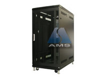 "25U Cabinet (KS-25100BDF), Black, 40"" deep acrylic/mesh F/R Doors, 3-fans, wheels and leveling feet. - (Free Shipping)"