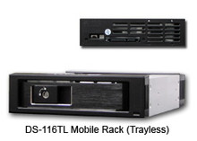 """3.5"""" SATA Removable Rack for HDD. 3.5"""" HDD/SSD compatible. Pass-Thru Backplane. Blue LED Power/HDD. Tray-less Design w/ Metal Key-lock. SATA III 6Gbps (600MB/s). 15pin SATA x1 and 7pin Data x1. Aluminum body. Color: Black"""