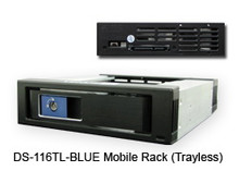 """3.5"""" SATA Removable Rack for HDD. 3.5"""" HDD/SSD compatible. Pass-Thru Backplane. Blue LED Power/HDD. Tray-less Design w/ Metal Key-lock. SATA III 6Gbps (600MB/s). 15pin SATA x1 and 7pin Data x1. Aluminum body. Color: Black w/ Blue Handle"""