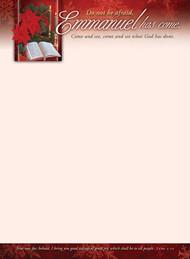 KJV Letterhead Paper - Christmas, Emmanuel Has Come