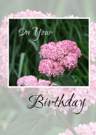 On Your Birthday (Hydrangea) - KJV Scripture Greeting Card - 5X7