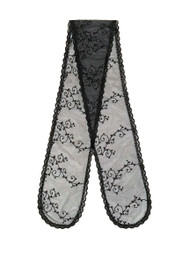 Prayer Veil - Black Lace - Elegant Flourish - Straight
