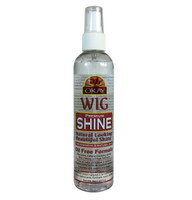"Premium Wig Shine For Synthetic & Natural Hair ""Oil Free"" - For Natural Beautiful Shine- Works On Synthetic & Natural Hair-Helps Keep Hair Easy To Manage- Paraben Free For All Hair Types and Textures - Made in USA - 8oz / 237ml"
